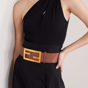 Fendi Zucca Logo FF Leather Oversized Waist Belt